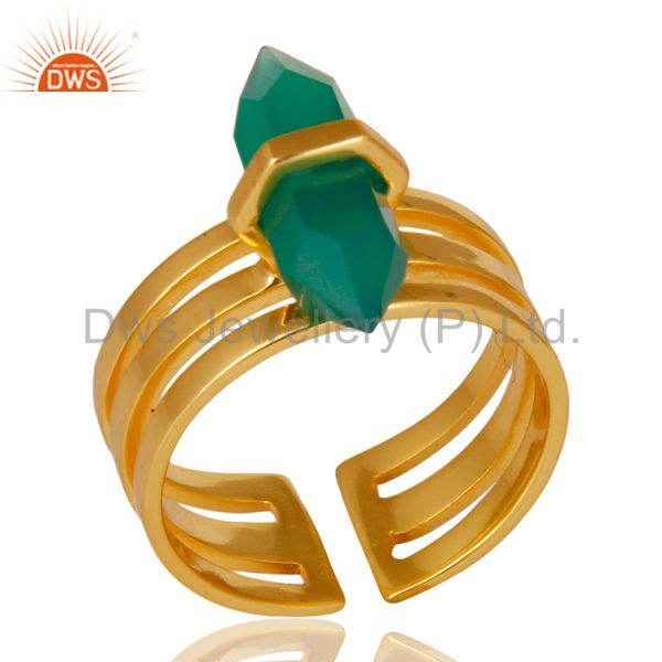 Green Onyx Wide Horn Adjustable 14K Gold Plated Sterling Silver Ring