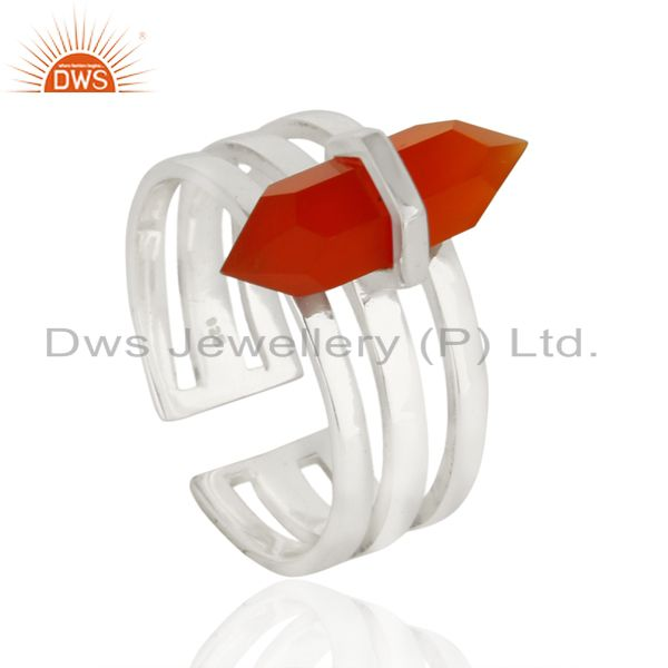 Red Onyx Wide Horn Adjustable Openable 92.5 Sterling Silver Ring