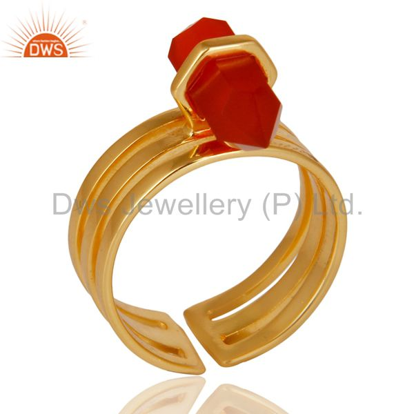 Red Onyx Wide Horn Adjustable 14K Gold Plated Sterling Silver Ring