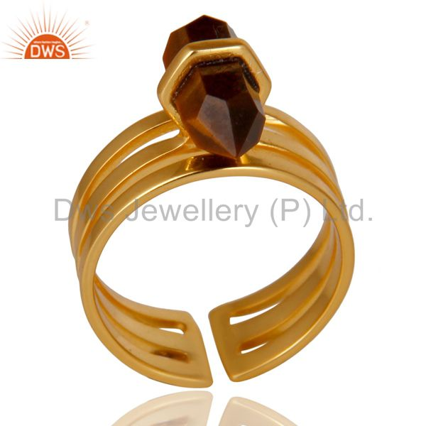 Tigereye Wide Horn Adjustable 14K Gold Plated Sterling Silver Ring