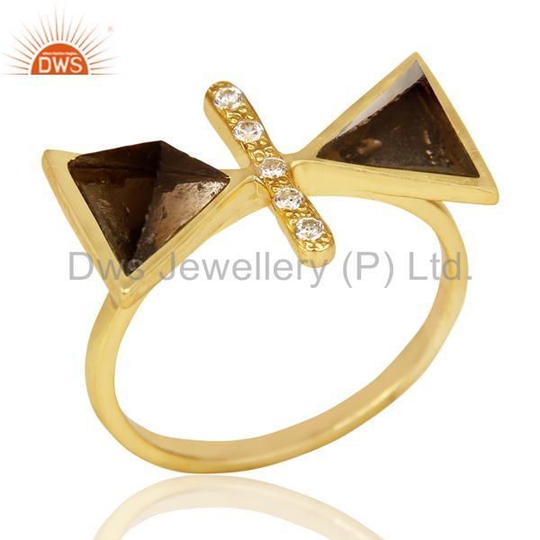 Smoky Topaz Triangle Cut Pyramid Cz Studded 14 K Gold Plated  Silver Ring