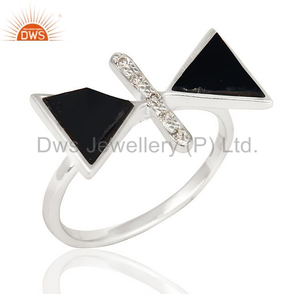 Black Onyx Triangle Cut Pyramid Cz Studded  Solid 92.5 Sterling Silver Ring