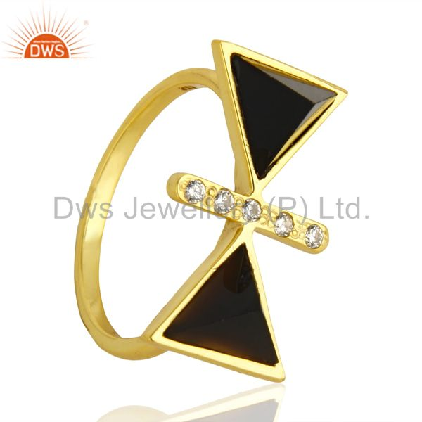 Black Onyx Triangle Cut Pyramid Cz Studded 14 K Gold Plated  Silver Ring