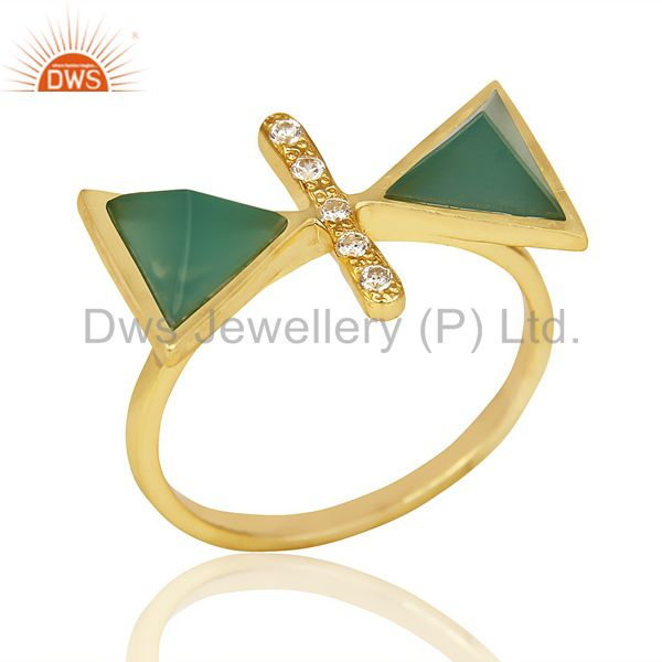 Green Onyx Triangle Cut Pyramid Cz Studded 14 K Gold Plated  Silver Ring