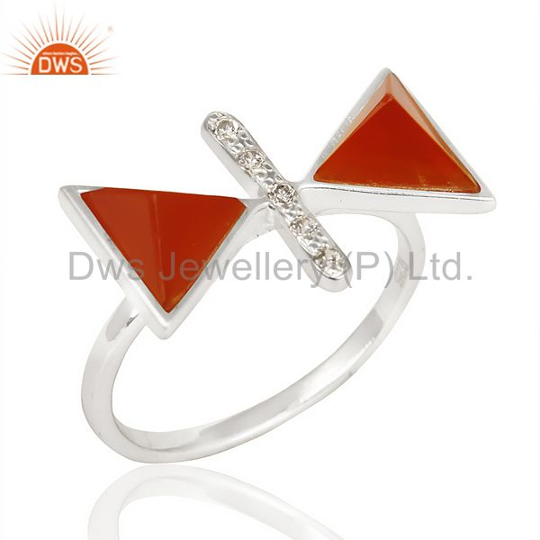 Red Onyx Triangle Cut Pyramid Cz Studded  Solid 92.5 Sterling Silver Ring