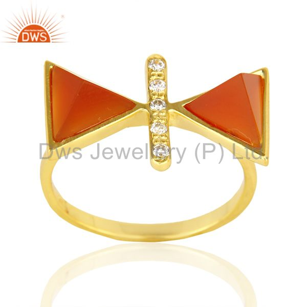 Red Onyx Triangle Cut Pyramid Cz Studded 14 K Gold Plated  Silver Ring
