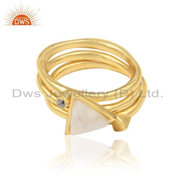 3 pack rings in yellow gold on silver and rainbow moonstone, cz