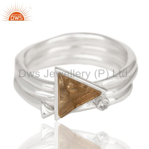Smoky Topaz Triangle Cut Gemstone Stacking Ring 92.5 Sterling Silver Ring