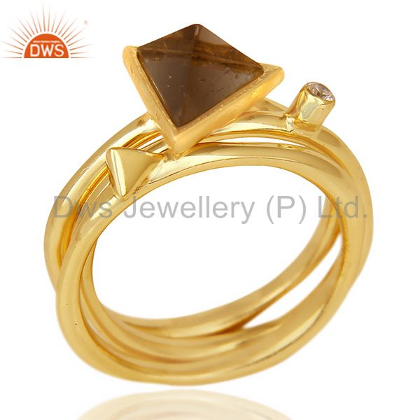 Smoky Topaz Triangle Cut Gemstone Stacking 14K Gold Plated 92.5 Silver Ring