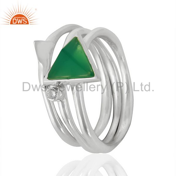 Green Onyx Triangle Cut Gemstone Stacking Ring 92.5 Sterling Silver Ring