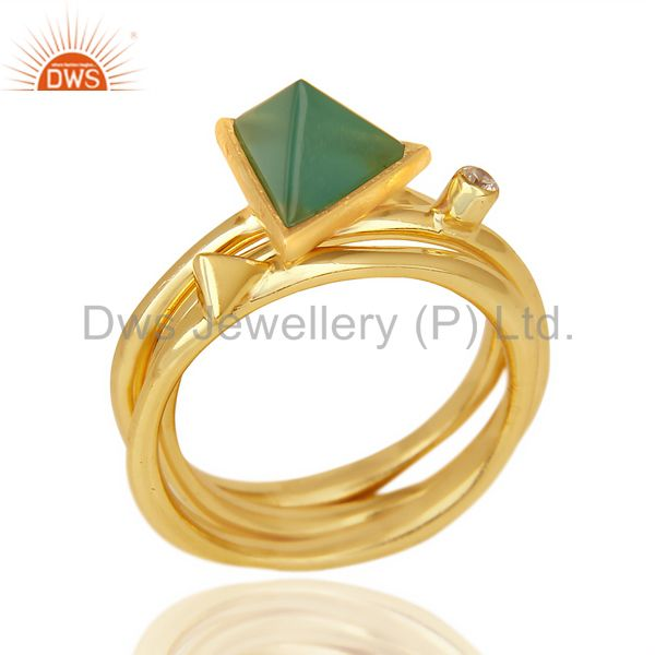 Green Onyx Triangle Cut Gemstone Stacking 14K Gold Plated 92.5 Silver Ring
