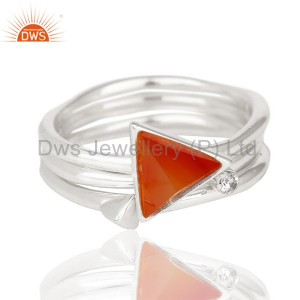 Red Onyx Triangle Cut Gemstone Stacking Ring 92.5 Sterling Silver Ring