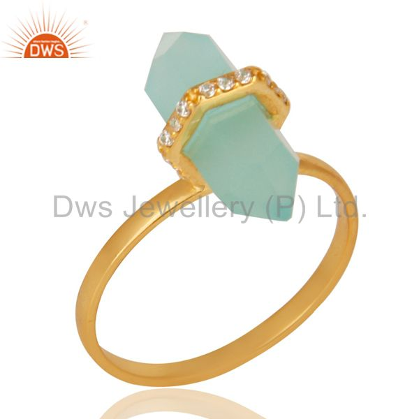 Aqua Chalcedony Cz Studded Double Terminated Pencil Gold Plated Silver Ring