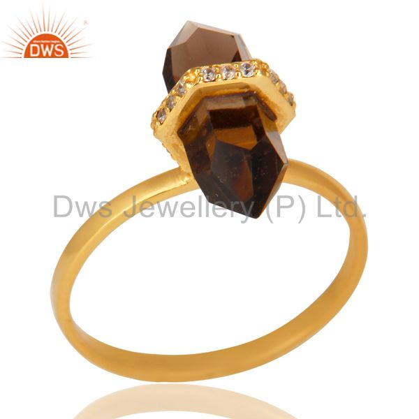 Smoky Topaz Cz Studded Double Terminated Pencil Gold Plated Silver Ring