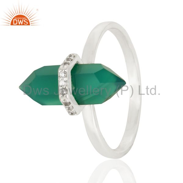 Green Onyx Cz Studded Double Terminated Pencil 92.5 Sterling Silver Ring