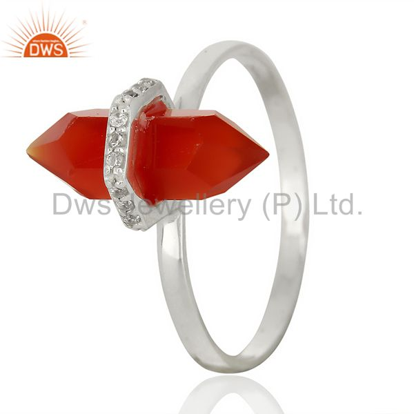 Red Onyx Cz Studded Double Terminated Pencil 92.5 Sterling Silver Ring