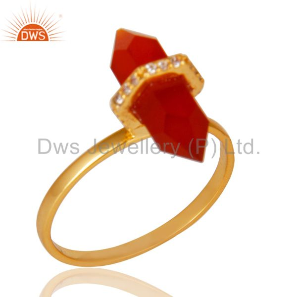 Red Onyx Cz Studded Double Terminated Pencil Gold Plated Silver Ring