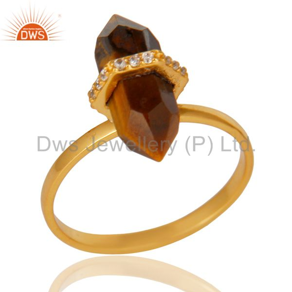 Tigereye Cz Studded Double Terminated Pencil Gold Plated Silver Ring