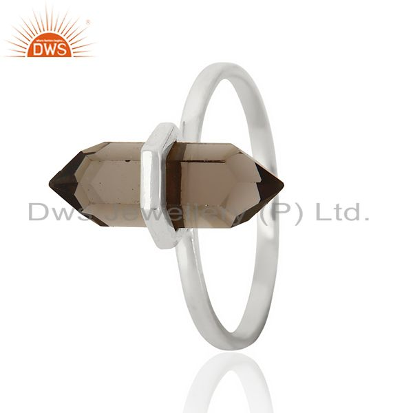 Smoky Topaz Terminated Pencil 92.5 Stelring Silver Wholesale Ring Jewelry