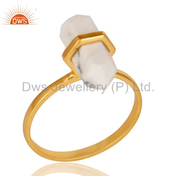 Howlite Terminated Pencil Gold Plated 92.5Stelring Silver Wholesale Ring