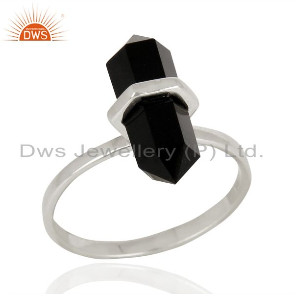 Black Onyx Terminated Pencil 92.5 Stelring Silver Gemstone Ring Jewelry