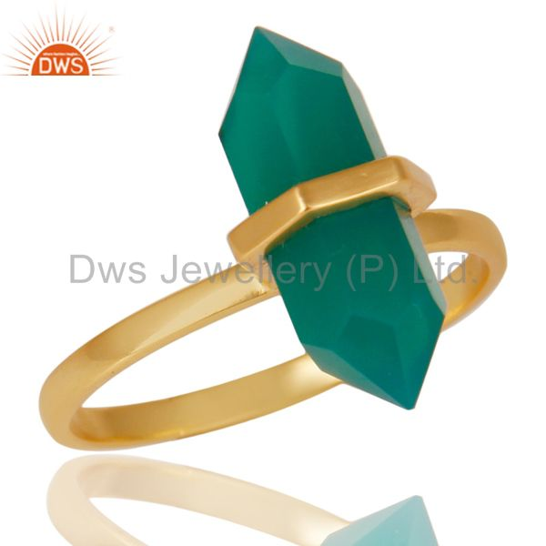 Green Onyx Terminated Pencil Gold Plated 92.5Stelring Silver Wholesale Ring