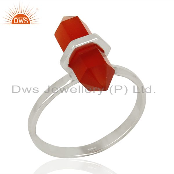 Red Onyx Terminated Pencil 92.5 Stelring Silver White Rhodium Plated Ring