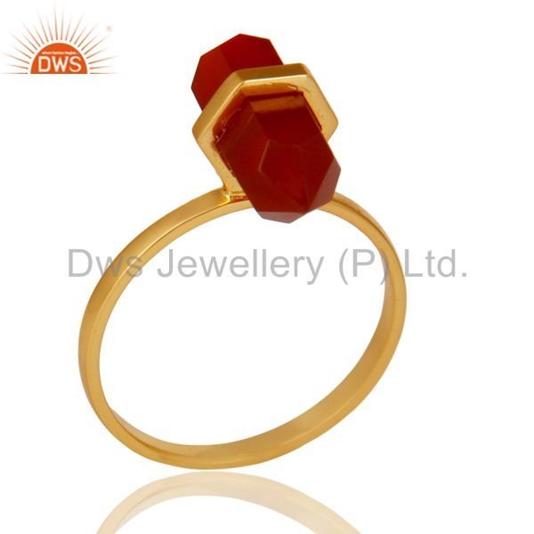 Red Onyx Terminated Pencil Gold Plated 92.5Stelring Silver Wholesale Ring