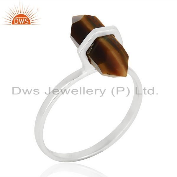 Tigereye Terminated Pencil 92.5 Stelring Silver Wholesale Ring Jewelry