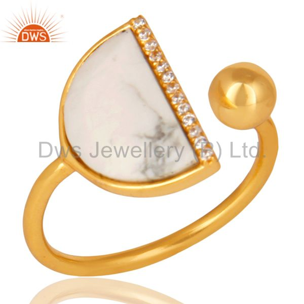 Howlite Half Moon Ring Cz Studded 14K Gold Plated Sterling Silver Ring