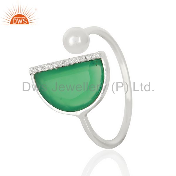 Green Onyx Half Moon Ring Cz Studded92.5 Sterling Silver Wholesale R