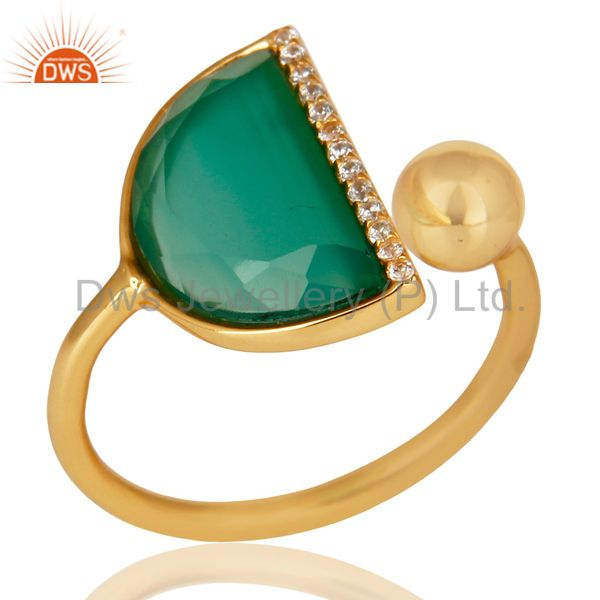 Green Onyx Half Moon Ring Cz Studded 14K Gold Plated Sterling Silver Ring