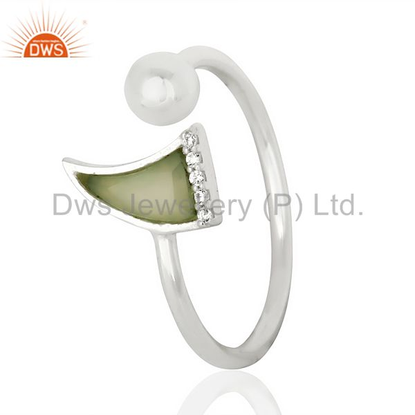 Aqua Chalcedony Horn Ring Cz Studded Ball Ring Sterling Silver Wholesale Ring