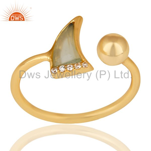 Aqua Chalcedony Horn Ring Cz Studded Ball Ring Gold Plated Sterling Silver Ring
