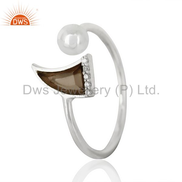 Smoky Topaz Horn Ring Cz Studded Ball Openable Ring Sterling Silver Ring