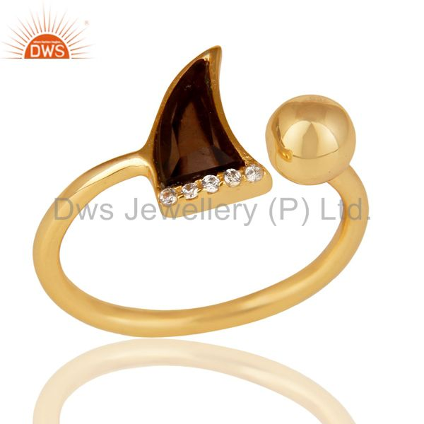 Smoky Topaz Horn Ring Cz Studded Ball Ring Gold Plated Sterling Silver Ring
