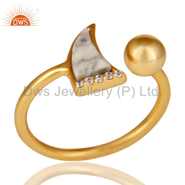 Howlite Horn Ring Cz Studded Ball Ring Gold Plated Sterling Silver Ring