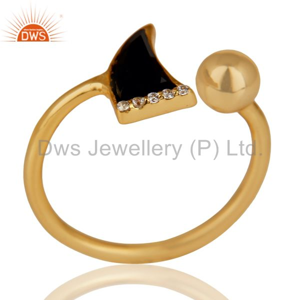 Black Onyx Horn Ring Cz Studded Ball Ring Gold Plated Sterling Silver Ring