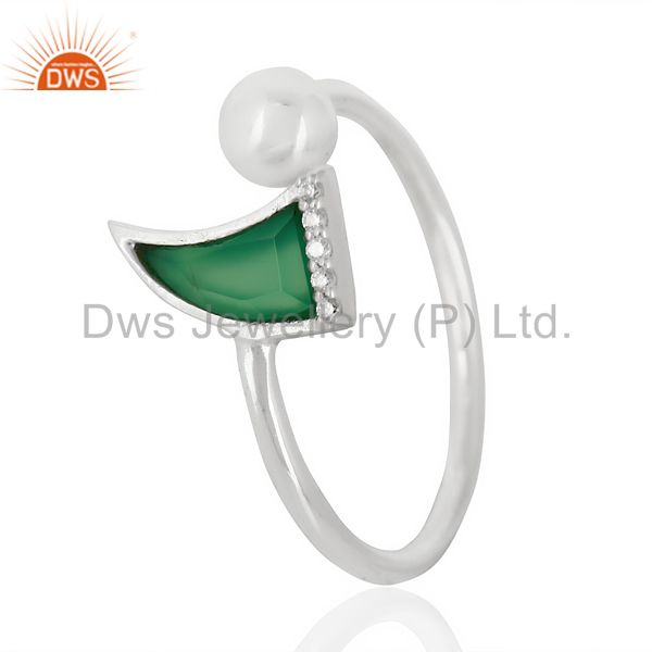 Green Onyx Horn Ring Cz Studded Ball Openable Ring Sterling Silver Ring