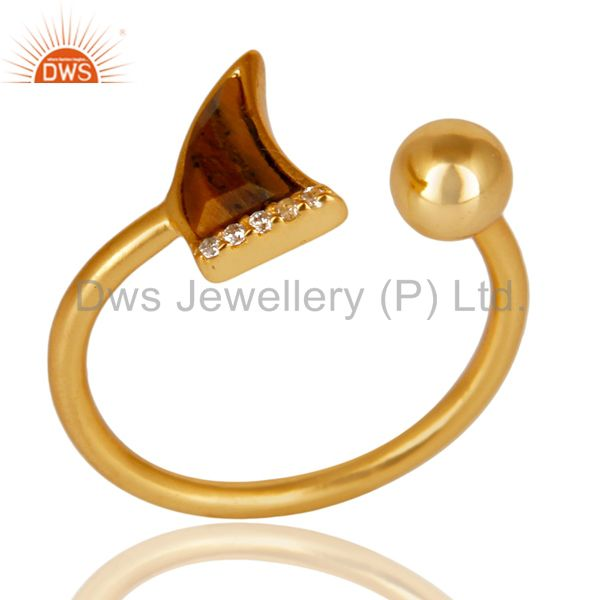 Tigereye Horn Ring Cz Studded Ball Ring Gold Plated Sterling Silver Ring