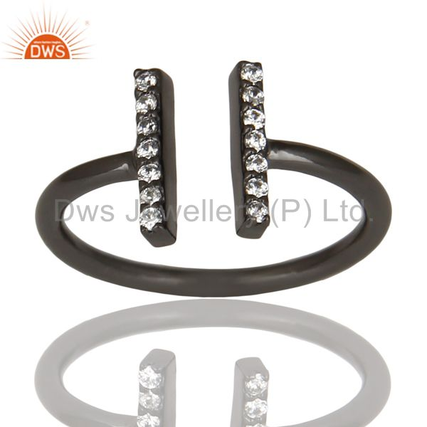 Cz Studded Parallel Ring Openable Parallel Ring Black Rhodium 92.5 Silver Ring
