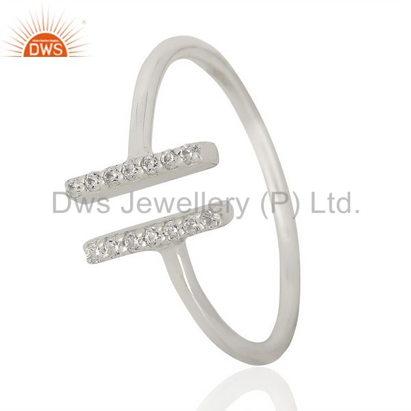 Cz Studded Parallel Ring Openable Parallel Ring 92.5 Silver Wholesale Ring