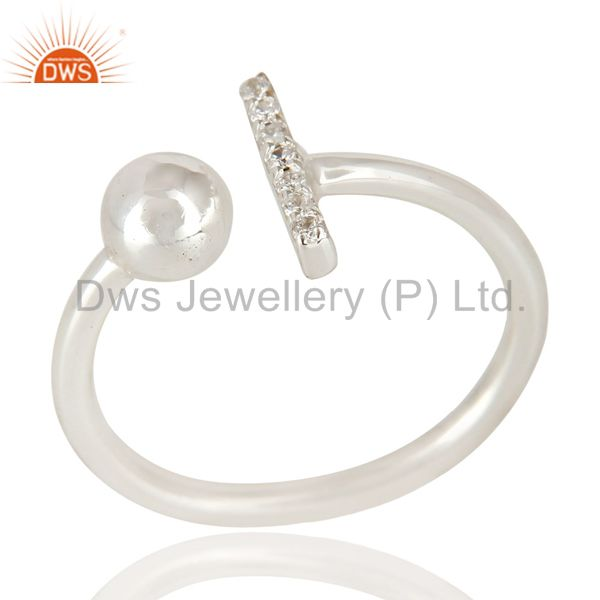 CZ Gemstone Stackable 925 Sterling Silver Handmade Art Ring Jewelry