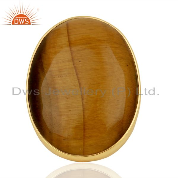 Yellow Tigereye Mens Ring Fine Gold Plated Sterling Silver Wholesale Jewelry