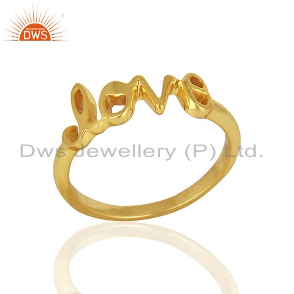 Initial Love Customized Gold Plated 925 Silver Ring Manufacturer