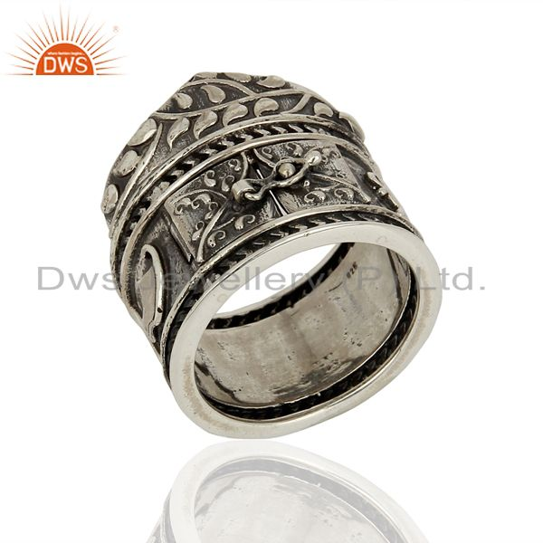 925 Silver Oxidized Antique Designer Wedding Rings Jewelry Supplier