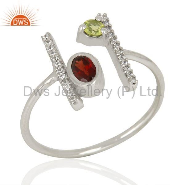 Garnet Adjustable Parallel Bar White Rhodium Plated  High Finish Silver Ring