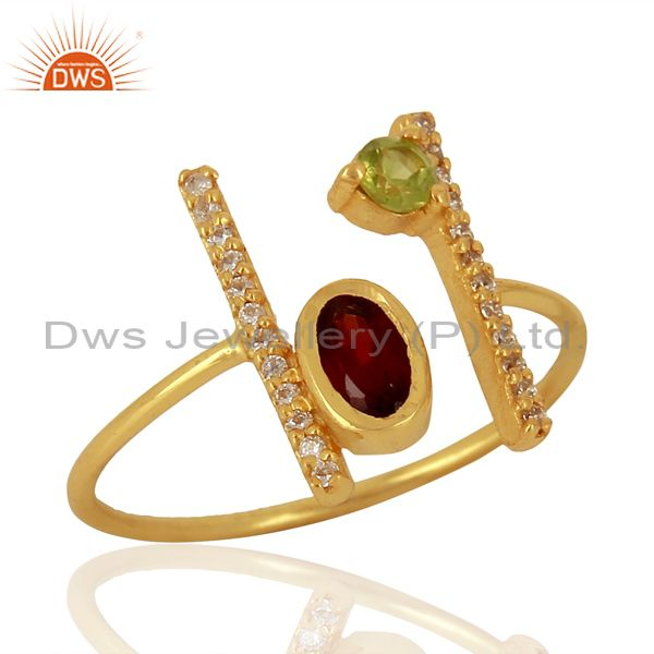 Garnet Adjustable Parallel Bar 14K Gold Plated  High Finish Silver Ring