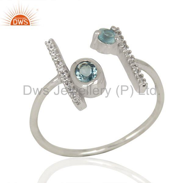 London Blue Topaz Adjustable Parallel Bar White Rhodium Plated Silver Ring