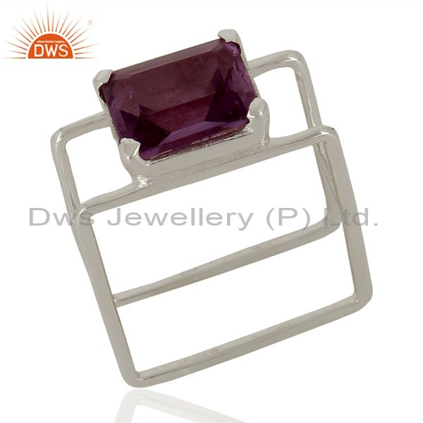 Anethyst Square Wire And Shape Designer Artisan Wholesale Silver Ring